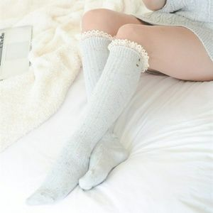 Light Gray Boot Socks With Ivory Lace Trim